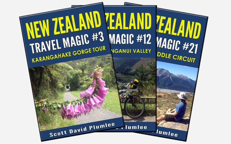 three book covers: New Zealand Travel Magic Series